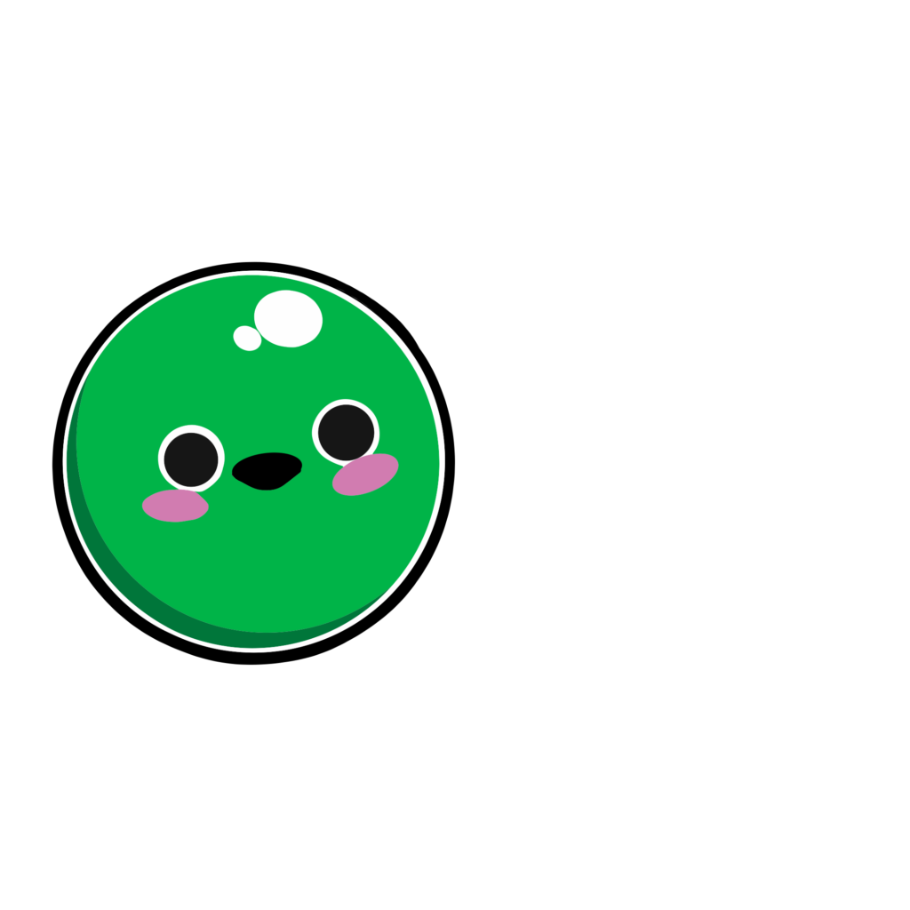 A cartoon graphic of a talking pea