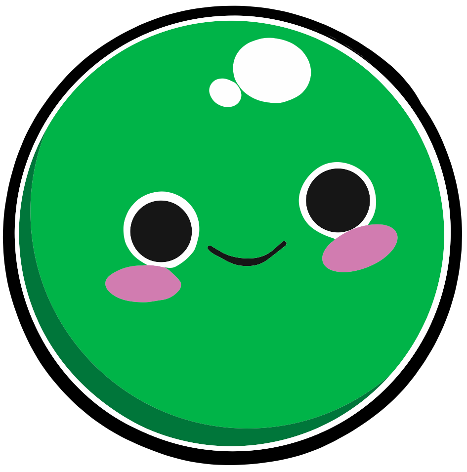 A cartoon graphic of a smiling pea